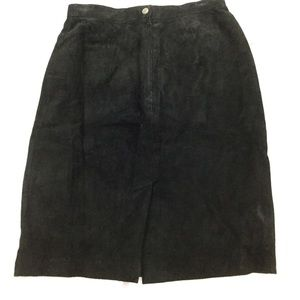Vintage Black Leather Suede Pencil Skirt